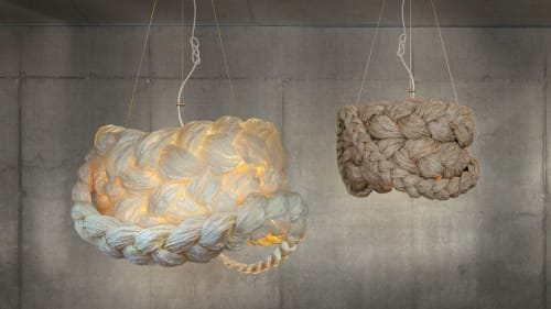 Pendants by Marie Burgos Design seen at Leicht New York, New York - Bride Pendant Lamps in White and Brown