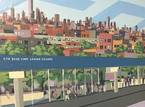 Murals by Mitchell Egly seen at Cta Blue Line - Logan Square, Chicago - Logan Mural