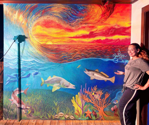 Murals by A Splash of Passion Art seen at Private Residence, New Port Richey - Hudson Seascape Mural