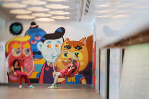 Murals by Bue The Warrior seen at WY Brussels, Brussel - Hotel Bloom