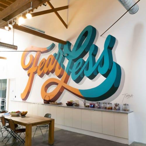 Murals by Alexis Taïeb aka Tyrsa seen at Sid Lee Los Angeles, Culver City - Fear Less