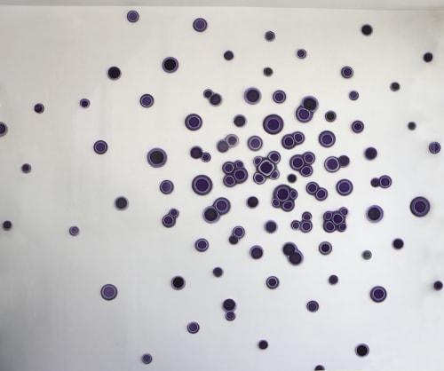 Interior Design by Studio Orfeo Quagliata seen at Mexico City, Mexico City - CELLZ Organic Multicolor Purple Circles Glass Wall Installation