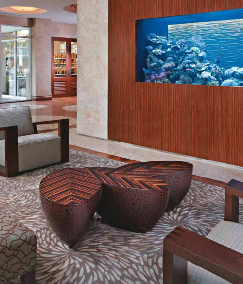 Rugs by Emma Gardner Design, LLC seen at The Seagate Hotel & Spa, Delray Beach - Swirl, custom Spray, Jewels in Sand, Tiny Stripes in hand-knotted Tibetan wool and Chinese Silk.