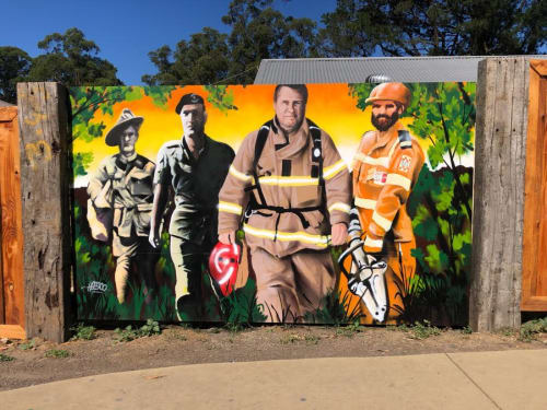 Murals by Heesco seen at Bollygum Park, Kinglake - Mural