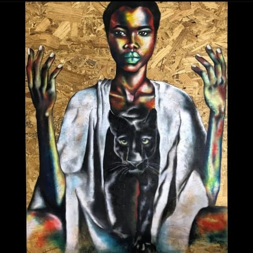 Paintings by Afrocentric Keyy seen at New York, New York - Stillness