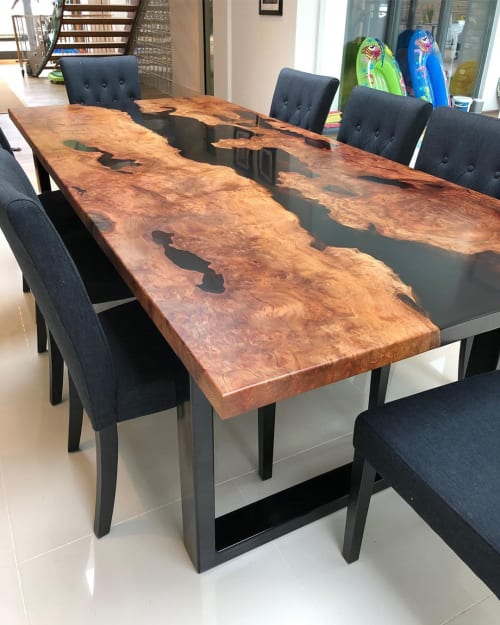Tables by Raven River Designs seen at Private Residence, Godalming - London Plane