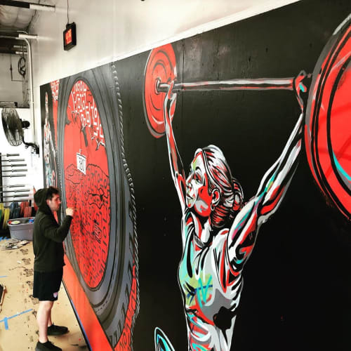 Murals by Elliot Trent Thompson seen at CrossFit 580 Livermore || Livermore's Premier Gym | Group Fitness Training, Livermore - CrossFit