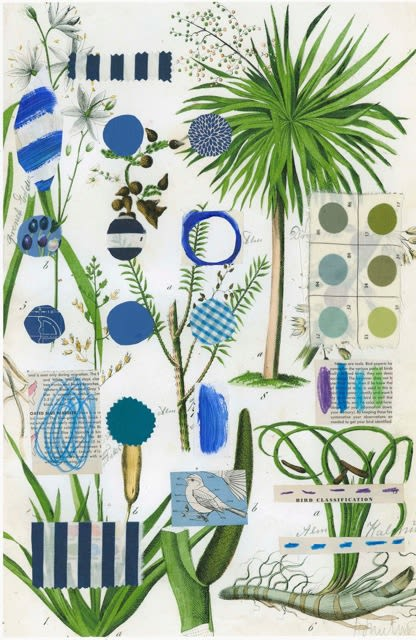 Paintings by Pam (Pamela) Smilow seen at New York, NY, New York - Botanical Series: Blue Palm Tree