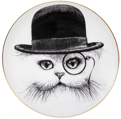 """Ceramic Plates by Rory Dobner seen at Private Residence, London - """"Cat in Hat Plate"""""""