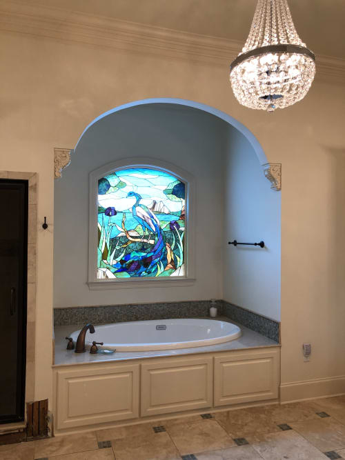 Interior Design by Warren Simmons seen at Private Residence, Baton Rouge - Peacock residential bath window