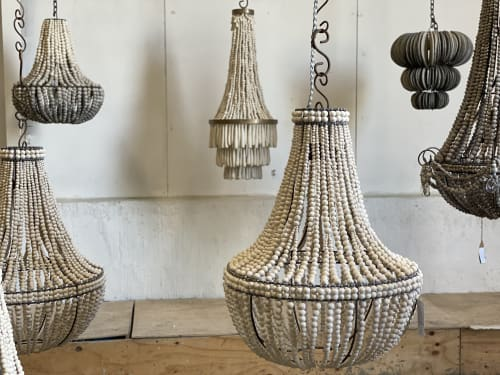 Chandeliers by THE  H A N D M A D E  STORY  ( Hellooow Handmade ) seen at Creator's Studio - HANDMADE CLAY BEAD CHANDELIERS & ECO LIGHTING RANGE