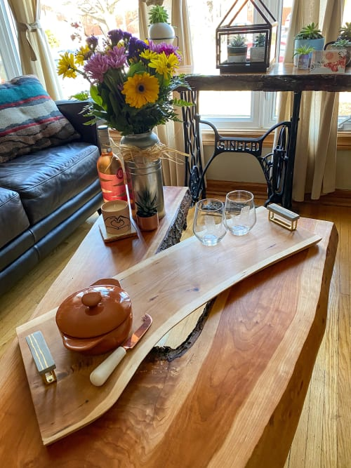 Tableware by D&D Wood Art seen at Private Residence, Toronto - Cherry Charcuterie Board | Concrete & Gold Handles