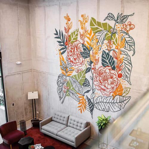 Murals by Majo Rodríguez seen at Nueve84 Curridabat, Granadilla - Flora Mural