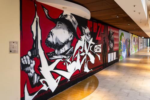 Street Murals by KUZB136 seen at Boulevard Berlin, Berlin - K - 1 - 3 -6 _Wild wild red