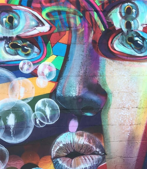 Murals by Chor Boogie seen at Punto Urban Art Museum, Salem - Sun's of Glitches