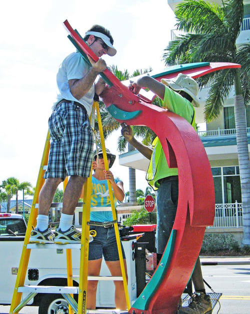 Public Sculptures by Gus Lina Fine Art seen at 520 N Baker St, Mount Dora - Hummingbird