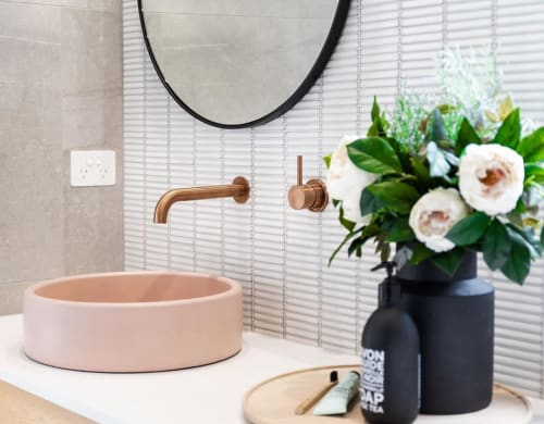 Water Fixtures by Nood Co. seen at Private Residence, Strathalbyn - Bowl Sink in Blush Pink