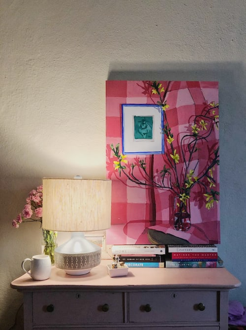 Paintings by Shelby Monte seen at Private Residence, Memphis - Pink Forsythia