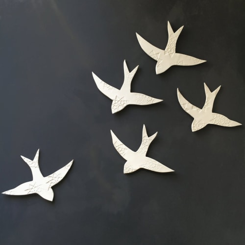 Art & Wall Decor by Elizabeth Prince Ceramics seen at Creator's Studio, Manchester - Large Set Of 5 Swallows Over Morocco Bird