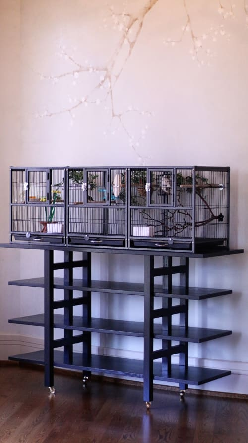 Furniture by McIntyre Furniture LLC at Private Residence, Bellevue, WA, Bellevue - Open shelf/Birdcage stand