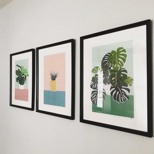 Paintings by Gabby Leon seen at Private Residence, London - Plant Prints triptych