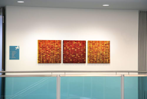 Sculptures by Michael Curry Mosaics seen at Acme Packet Technology, Bedford - Red Mercury Mirror
