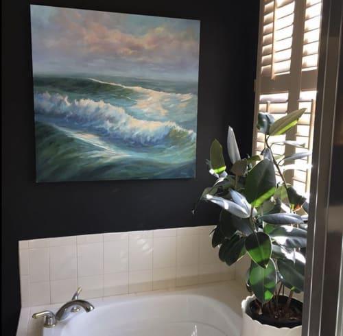 Art Curation by Diane Larson Fine Art seen at North Carolina - Master Bath