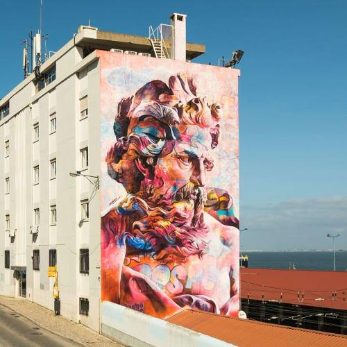 Murals by PichiAvo seen at Lisboa Santa Apolónia, Lisboa - Poseidon