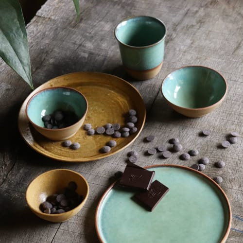 Ceramic Plates by Ceramics by Charlotte seen at Private Residence, Havelange - Ceramic tableware in Sage glaze