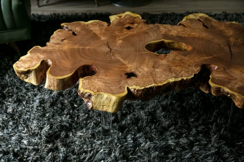 Tables by Lumberlust Designs seen at Private Residence in Scottsdale, AZ, Scottsdale - Mesquite Burl Natural Edge Coffee Table