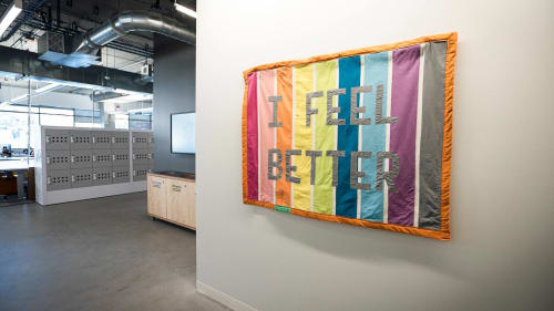 """Wall Hangings by Joey Veltkamp seen at Facebook, Seattle - """"I feel better"""" Quilt"""