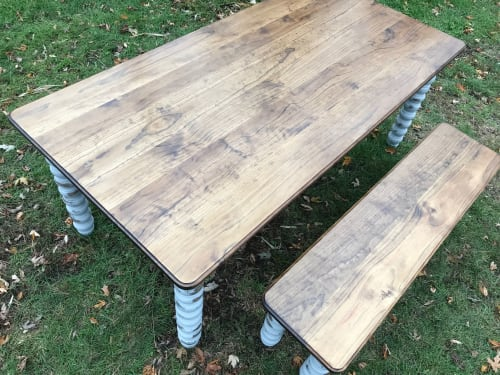 Farmhouse Dining Table with Grey Distressed Legs and Stained | Tables by Hazel Oak Farms