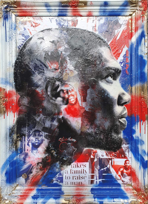 Paintings by Dan Pearce seen at London, London - Anthony Joshua commission