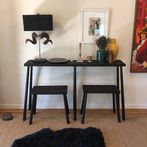 Benches & Ottomans by Oja Design seen at Private Residence, San Rafael - Roughsawn console and benches
