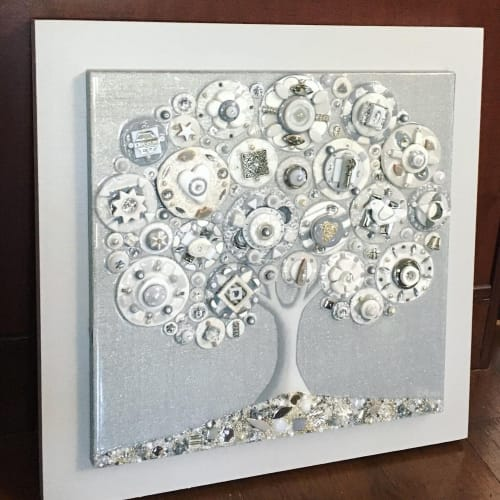 """Paintings by Cami Levin seen at Creator's Studio, Dana Point - """"Frosted Platinum"""" - 20"""" x 20"""""""