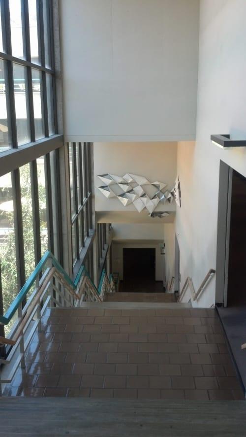 Sculptures by C.O.CO. seen at Robert E. Kennedy Library, San Luis Obispo - Reflection