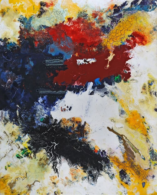 "Paintings by Anne Marchand seen at JBG SMITH, Bethesda - ""Mauj"" Painting"