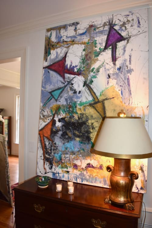 "Paintings by Michael Patterson ""push paint studios"" Charlotte NC USA seen at Private Residence, Charlotte - Four Arrows  40"" x 53""    modern abstract large canvas."