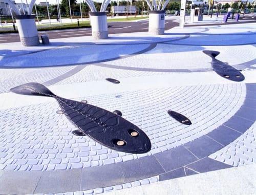 Public Sculptures by Oscar Oiwa seen at Sendai, Sendai - Sendai Fish