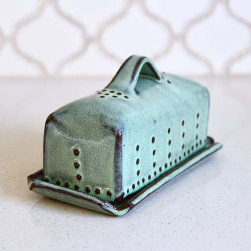 Covered Butter Dish with Handle in Aqua Mist | Tableware by Back Bay Pottery | Private Residence in Baywood-Los Osos