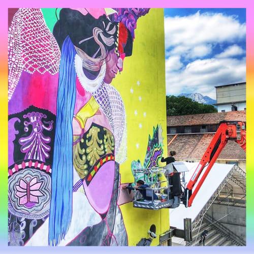 Murals by HUSMANN/TSCHAENI seen at Attisholz, Riedholz - LEPIDOPTERA EMPRESS