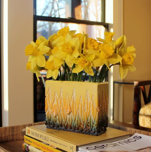 Vases & Vessels by Dow Redcorn Ceramics seen at Private Residence, Atlanta - Yellow Ceramic Flower Brick
