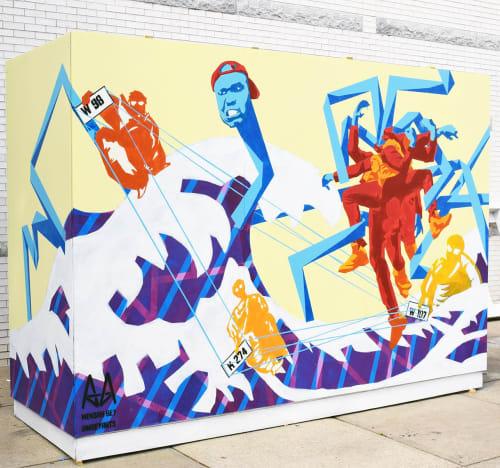 Street Murals by Mensah Bey seen at Cypress Avenue, Virginia Beach - VIBE District Mural