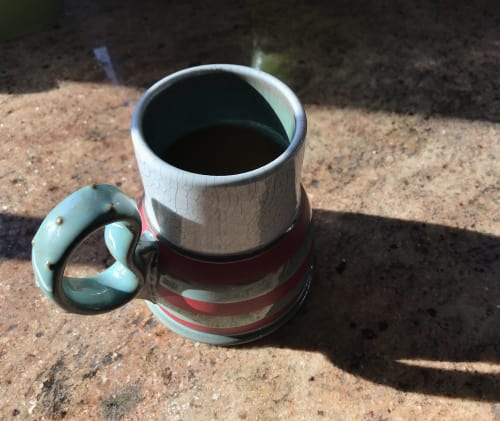 "Cups by VEpottery at Private Residence, Kalamazoo - Beaker Mug with ""rubber band"" handle"