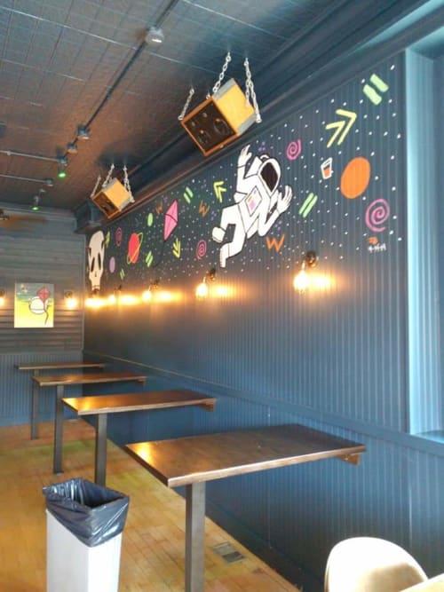 Murals by Zach Bartz seen at Kite String Cantina, Chicago - Kite String Mural
