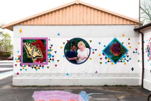 Murals by Hagopian Arts seen at Emlen Eleanor C School, Philadelphia - Symbiosis