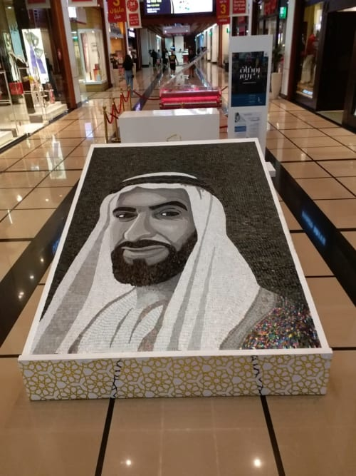 Murals by A & T Cunha Mosaic seen at Yas Mall, Abu Dhabi - The Year of Zayed