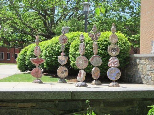 Public Sculptures by Pam Brewer seen at Turchin Center For the Visual Arts, Boone - A Dream - Totems for Humanity