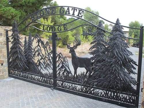 Public Sculptures by Richard Yates seen at Stone Gate Lodge, Dalton - Custom Deer Gate