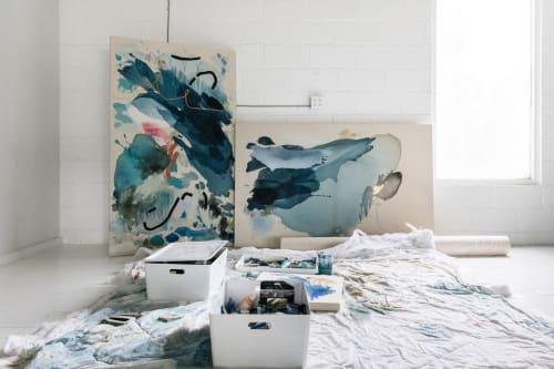 "Paintings by Maggie Macdonald seen at Maggie Macdonald Art Studio & Gallery, Spartanburg - ""Half Empty. Half Full"""